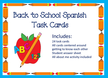 Back to School Spanish Task Cards