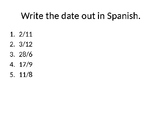 Back to School Spanish Warm Ups Novice-Intermediate Level