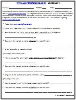 Back to School - Spanish Webquest BUNDLE! WordReference.com & CareerBuilder.com