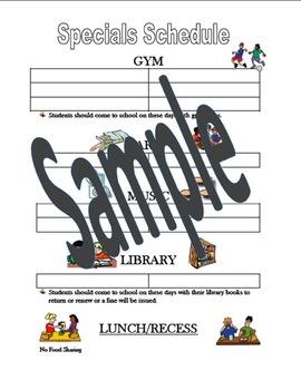 Back to School: Specials Organization Schedule