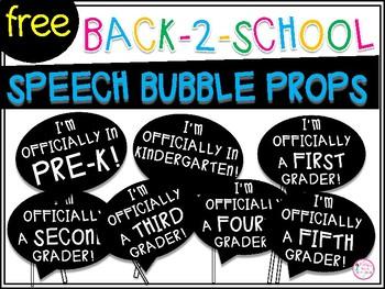 Back To School Speech Bubble Props Freebie By Happy Days In First Grade