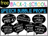 Back to School Speech Bubble Props FREEBIE