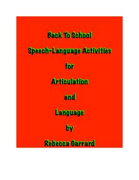 Back to School Speech-Language Activities