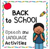 Back to School Speech & Language Activities