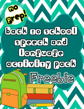 Back to School Speech/Language NO PREP Freebie