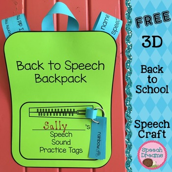 Back to School Speech Therapy 3D Backpack Craft FREE