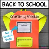 Back to School Speech Therapy Craftivity