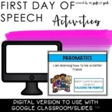 Back to School Speech Therapy | First Day of Speech Digital Resource