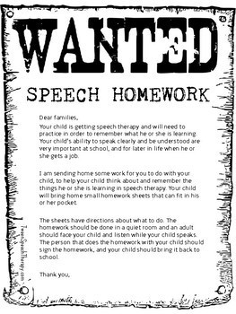 Back to School Speech Therapy Homework: Pocket Sized
