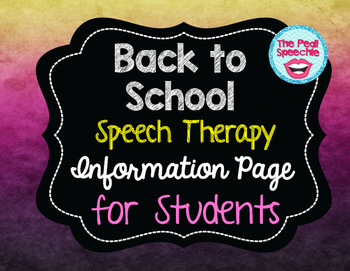 Back to School Speech Therapy Information for Students