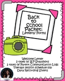 Speech Back to School Speech Therapy Packet with forms, letters, data, logs