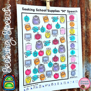 Back to School Speech Therapy Seeking Activity {articulation}