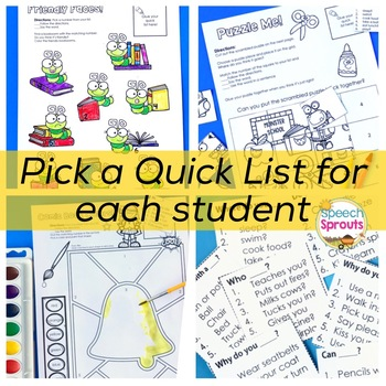 Back to School Speech Therapy Activities with Yes-No & WH Questions Quick Lists