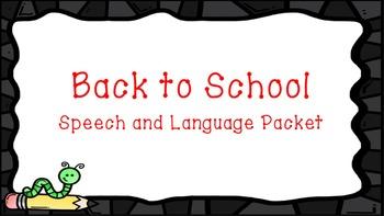 Back to School Speech and Language Bundle