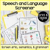 Back to School Speech and Language Screener