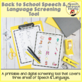 Back to School Speech and Language Screener