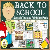 Back to School Speech and Language Therapy Pack