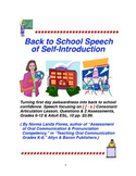 Back to School Speech of Self-Introduction