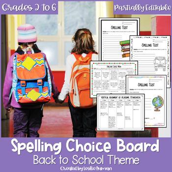 EDITABLE Back to School Spelling Choice Board