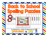 Back to School Spelling Puzzles for Students with Special Needs