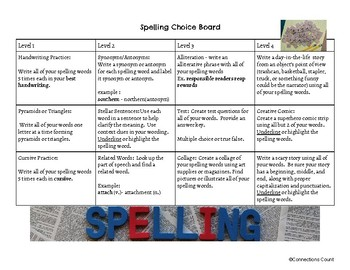 Back to School Spelling/Vocabulary Choice Board