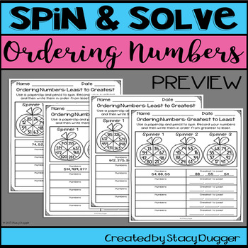 Back to School Spin and Solve Compare and Order Numbers Math Practice