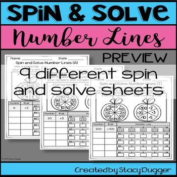 Back to School Spin and Solve Math Practice ~ Number Lines