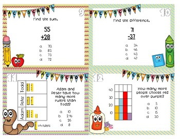 Back to School Spiral Review 3rd Grade Math Task Cards