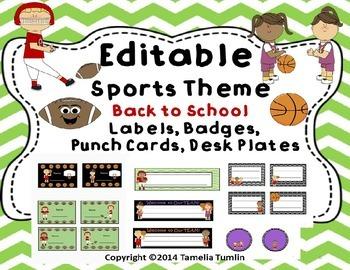 EDITABLE Back to School Sports Labels, Badges, Behavior Punch Cards  Desk Plates
