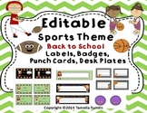 EDITABLE Back to School Sports Labels, Badges, Behavior Punch Cards  Desk Plates