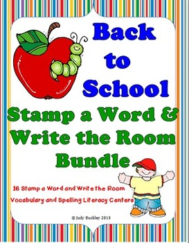 Back to School Stamp a Word and Write the Room Bundle