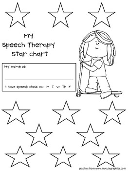 Back to School Star Chart for Speech Therapy--Freebie