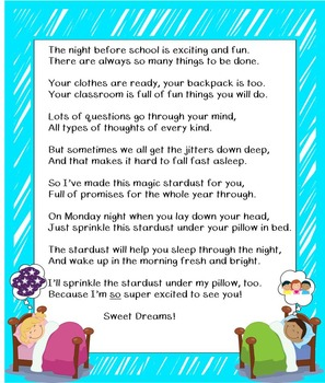 Back to School Stardust Poem Freebie