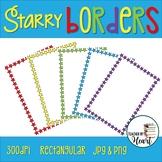 Back to School Starry Borders Rectangular Clip Art