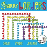 Back to School Starry Borders Square Clip Art