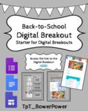 Back-to-School Start Digital Breakout