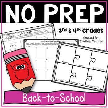 Back to School Activities for 3rd Grade & 4th Grade No Prep