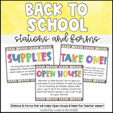 Back to School- Stations & Forms for Open House or Meet the Teacher