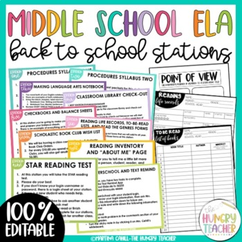 Back to School Stations Middle School and High School - Editable