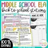 ELA Back to School Stations | Middle School | High School | Editable |