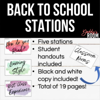 Back to School Stations (With handouts and ideas on how to use!)
