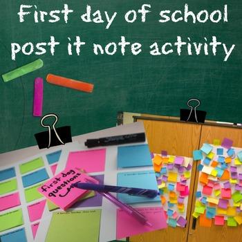 Back to School Sticky Note Activity