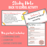 Back to School - Sticky Note Activity (Middle School & High School)