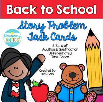 Back to School Story Problem Cards (Addition & Subtraction)