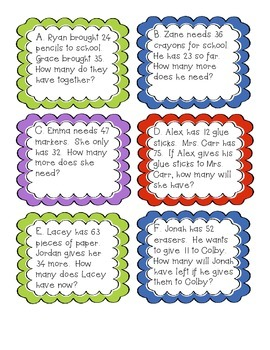 Back to School Story Problems - Add. & Sub. 2 Digit without Regrouping