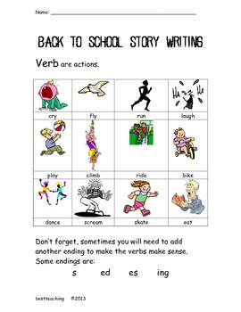 Back to School Storywriting