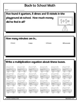 Back to School NO PREP Printables - Fifth Grade Common Core Math and Literacy