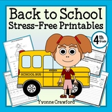 Back to School NO PREP Printables - Fourth Grade Common Core Math and Literacy