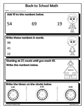 Back to School NO PREP Printables - Second Grade Common Core Math and Literacy