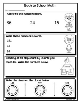 Back to School NO PREP Printables - Third Grade Common Core Math and Literacy